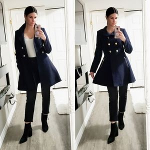 Guess * Wool Blend Fit & Flare Coat